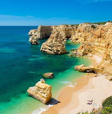 Praia da Marinha beach from above, the Algarve, Portugal