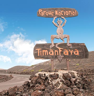 Sign for Timanfaya National Park on Lanzarote, the Canary Islands
