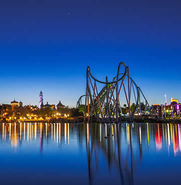 Rollercoaster illuminated at night, Universal Orlando