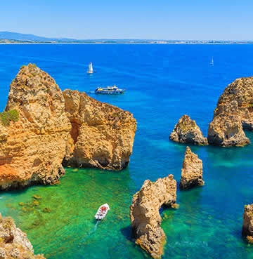 The Algarve's iconic craggy golden clifftops