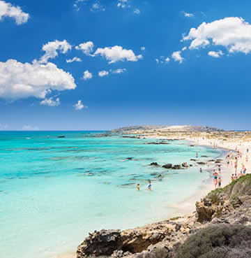 Exotic scenes of Elafonisi beach and lagoon in Crete, Greece