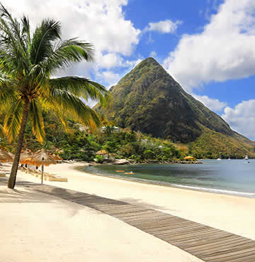 UNESCO-listed Pitons of St. Lucia from Sugar Beach in Soufriere