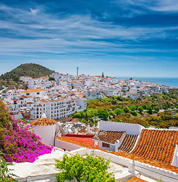 The traditional whitewashed village of Frigiliana in Andalucia