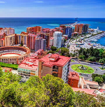 A bird's eye view over Malaga marina