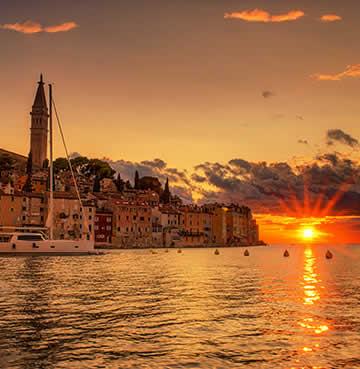 Romantic seaside village Rovinj at sunset