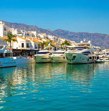 Luxury marina lined with yachts at Puerto Banus