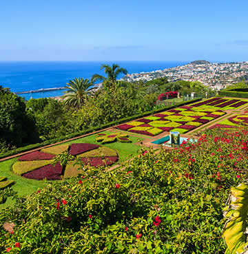 The immaculately manicured gardens of Funchal's botanical gardens, with views over the sparkling Atlantic Sea and the city of Funchal