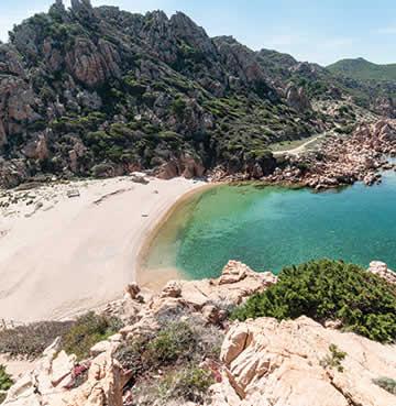 Li Cossi Bay beach and cliffs in Sardinia