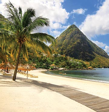 View of the Piton Mountains in St. Lucia