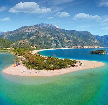 The Blue Lagoon and beach of Oludeniz viewed from above in Turkey