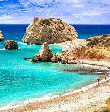 Aphrodite's Rock sitting off Petra tou Romiou beach, Cyprus