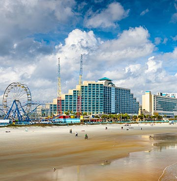 Daytona Beach skyline, complete with funfair attractions, towering hotels and beautiful white sands