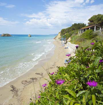 View of Halikounas Beach in Corfu, Greece
