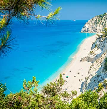 View of Egremni Beach in Lefkas, Greece