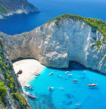 View of Shipwreck Bay in Zakynthos, Greece
