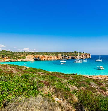 Turquoise waters at Cala Varques beach, Mallorca