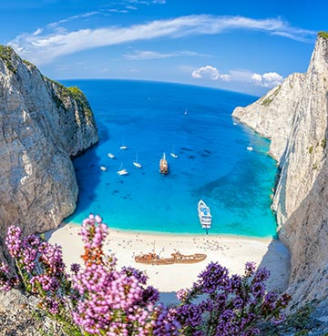 The iconic Shipwreck Beach in Zakynthos