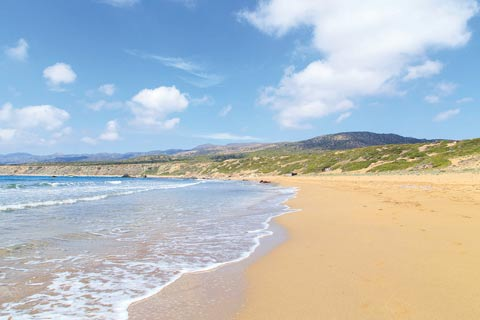 Wide golden sands and rolling hills and mountains are all part of unspoiled Lara Beach in Cyprus