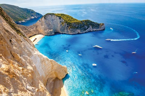 Shipwreck beach and smuggler's cove at Navagio Beach, Zakynthos