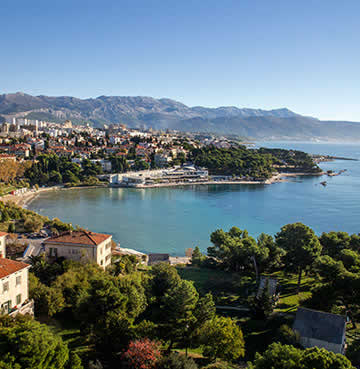 Bačvice beach and surrounding city of Split