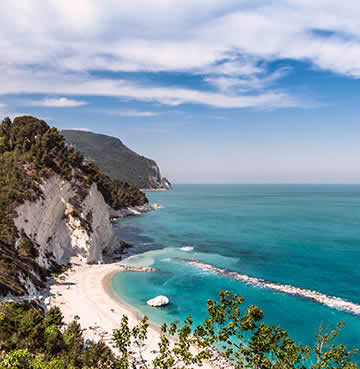 Wild and windswept towering cliffs of the Conero Riviera, Le Marche