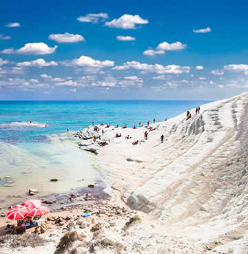 White, limestone cliffs and azure waters at Scala dei Turchi, Sicily