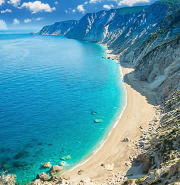 Isolated beach with spectacular sheer cliffs and turquoise waters of the Ionian Sea