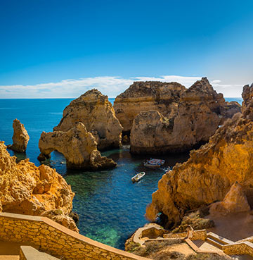 The pristine tranquillity of Praia da Marinha in the Algarve, Portugal