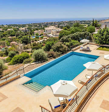 Luxury villa with beautiful views across Aphrodite Hills Holiday Resort and out to sea