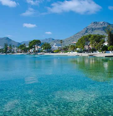 Calm, crystal-clear waters at the bay of Pollensa