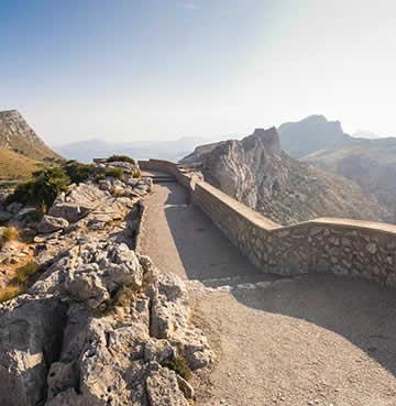 Panoramic pathway extending across the peaks of the The Serra de Tramuntana, Mallorca