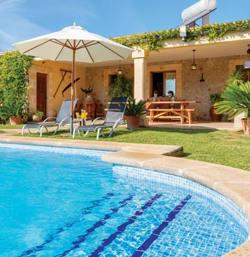 A private pool with gently sloping steps