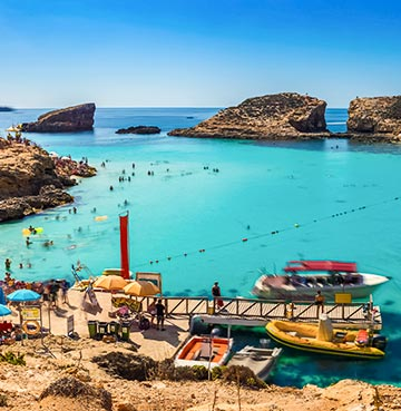The mesmerising blue waters of Comino's Blue Lagoon