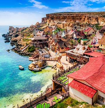The stunning film set of Popeye Village, packed with activities for all the family