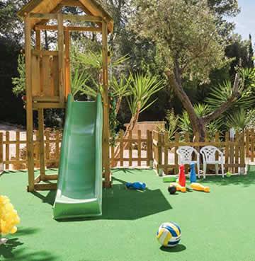 A slide and play area at Villa La Finca in Mallorca