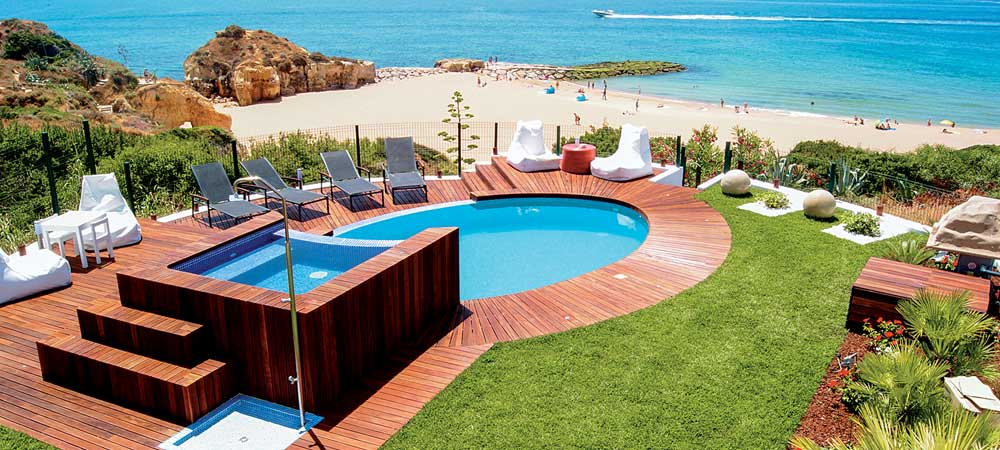 View of pool and beach from Villa Praia in Albufeira