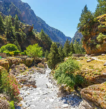 A rushing river makes its way through Samaria Gorge, surrounded by lush greenery