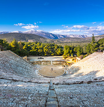 A famous theatre in Peloponnese. Considered a masterpiece of Greek architecture. Surrounded by mountains and luscious forests.