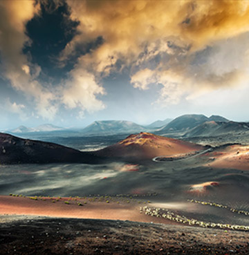 Volcanic landscapes of Timanfaya National Park, Lanzarote