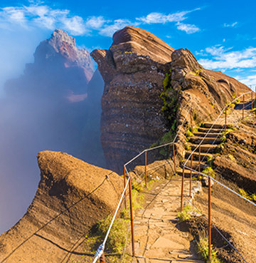 Hiking above the clouds and across mountain tops in Madeira