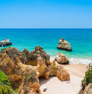 Iconic craggy cliffs and golden sands of the Algarve