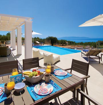Outdoor dining overlooking private pool in James villa
