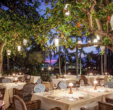 Immaculately set dinner tables at a resort in Jamaica. Set near the beach side, lights hang in the trees above and palm trees can be seen in the background.
