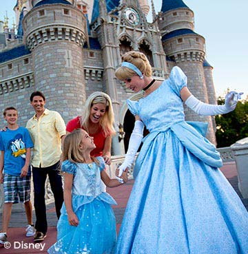 Young girl meeting Cinderella in front of a castle