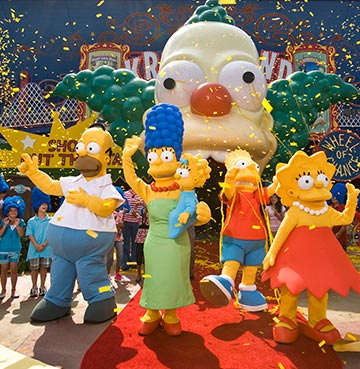 The Simpsons and Krusty the Clown at Universal Studios Florida