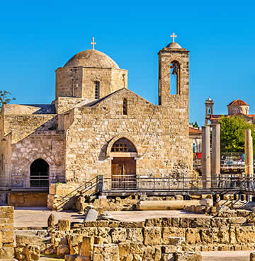 A honey-stone church in Cyprus