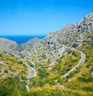 Winding roads in the Serra de Tramuntana mountains