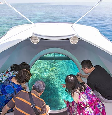 A family watch the local marine life as they enjoy a glass bottom boat tour.