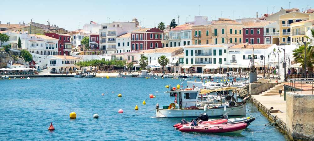 Moll de Cales Fonts harbour in Es-Castell Menorca