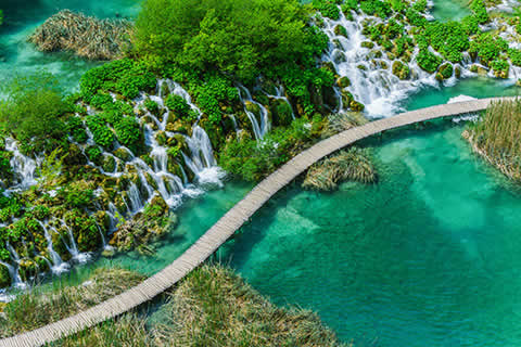 Wooden walkway running through the Plitvice National Parks